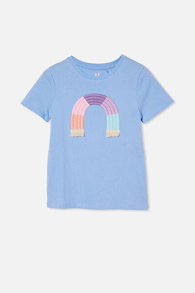 Stevie Short Sleeve Embellished Tee, DUSK BLUE/ RAINBOW