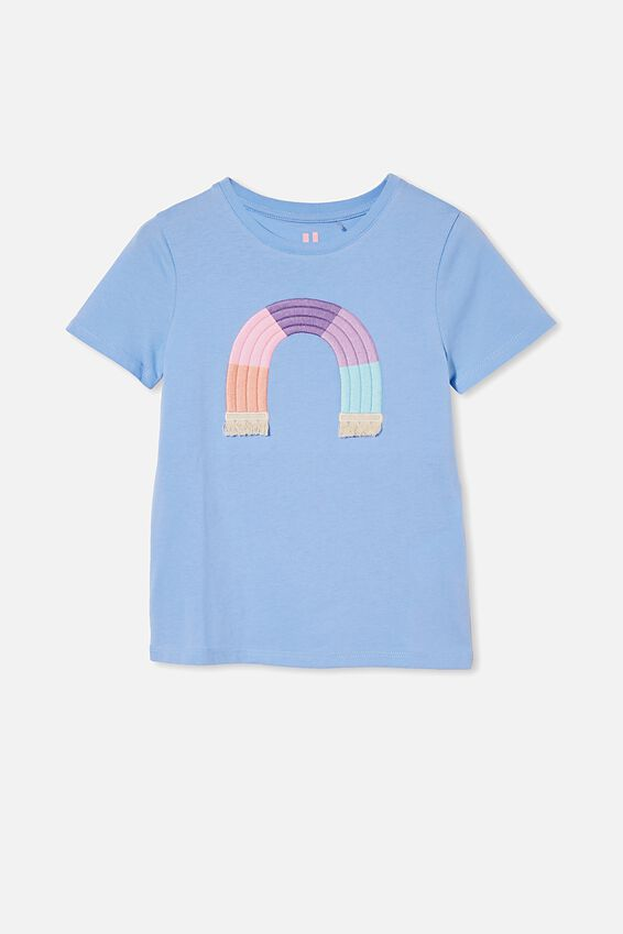 Stevie Short Sleeve Embellished Tee, DUSK BLUE/ RAINBOW
