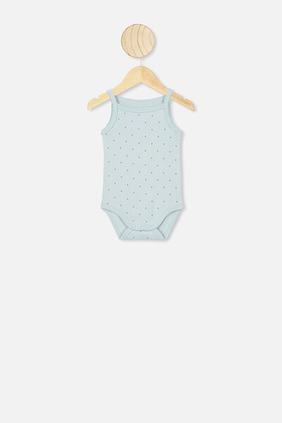 Picot Trim Singlet Bubbysuit, BETTY SPOT ETHER/AQUA DREAM