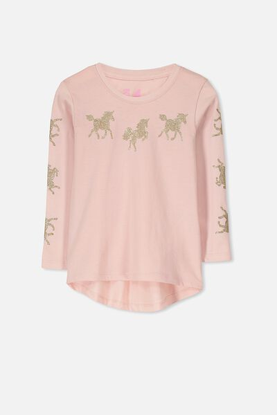 Penelope Long Sleeve Curved Hem, SILVER PINK/GALLOPING UNICORN
