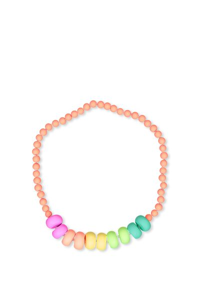 Mixed Beaded Necklace, NEON RAINBOW