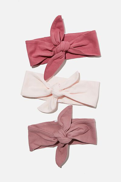 3 Pack Tie Headband, MAUVE PLUM/DUSTY BERRY/CRYSTAL PINK