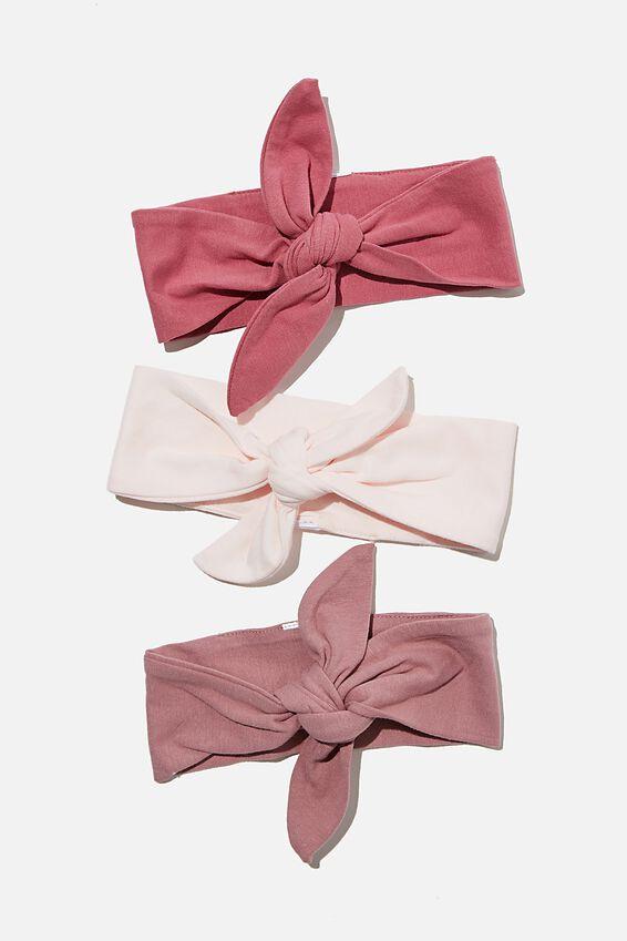 3 Pack Tie Headband, MAUVE PLUM/DUSTY BERRY/CRYSTAL PINK