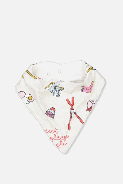 Dribble Bib, OATMEAL MARLE/EAT SLEEP SKI
