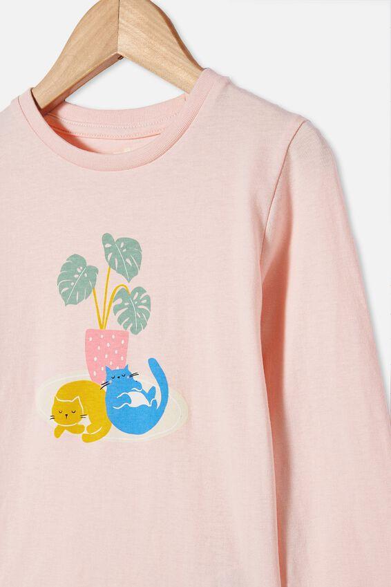 Penelope Long Sleeve Tee, PINK QUARTZ/PLANT CATS