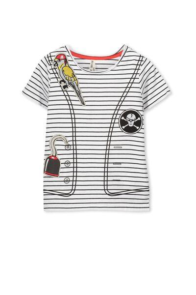 Short Sleeve Pirate Tee, VANILLA STRIPE