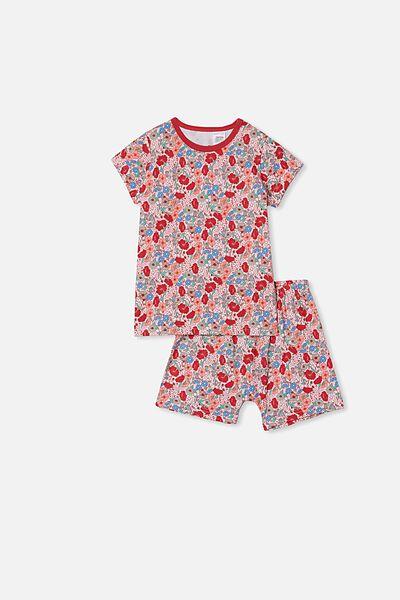 Harpa Short Sleeve Pyjama Set, JOLLY FLORAL PINK QUARTZ