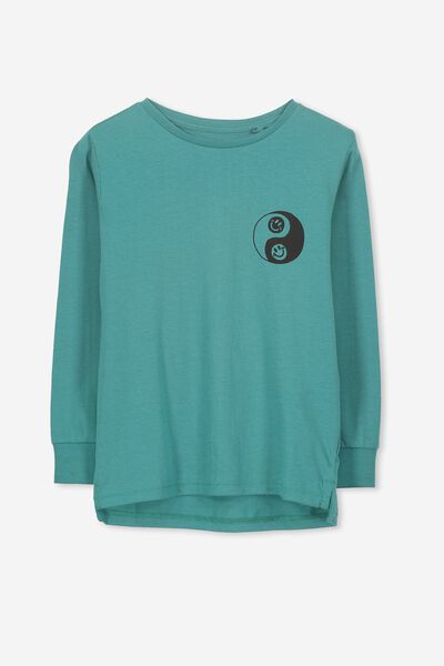 Tom Long Sleeve Tee, ROCK POOL BLUE/YING YANG SMILEY