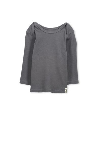 Mini Long Sleeve Rib Tee, GRAPHITE GREY