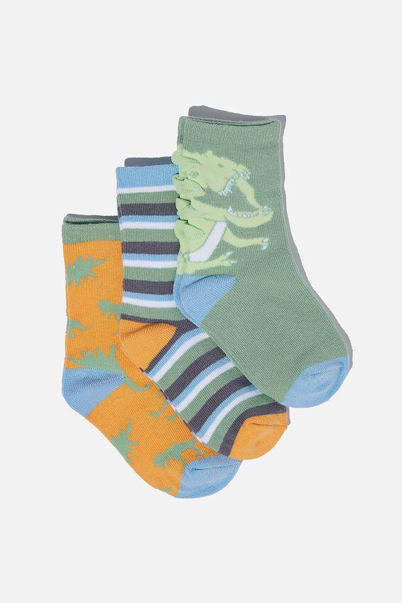 Kids 3Pk Crew Socks, SWAG GREEN DINO