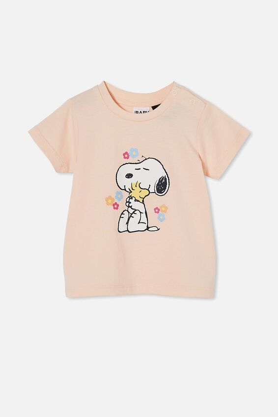 Snoopy Jamie Short Sleeve Tee, LCN PEA PEACH TANG/SNOOPY EACH OTHER