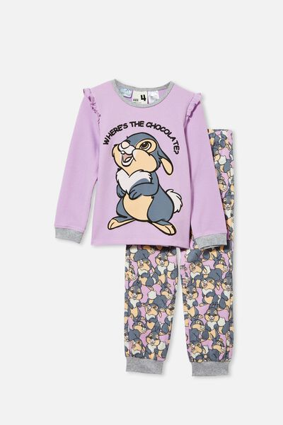 Edith Long Sleeve Pyjama Set Licensed, LCN DIS THUMPER GIRL/PALE VIOLET