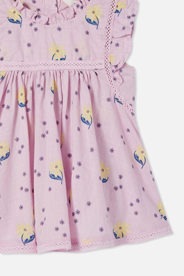 Tess Flutter Sleeve Dress, LAVENDER FOG/DAISY YELLOW EUGENIE FLORAL