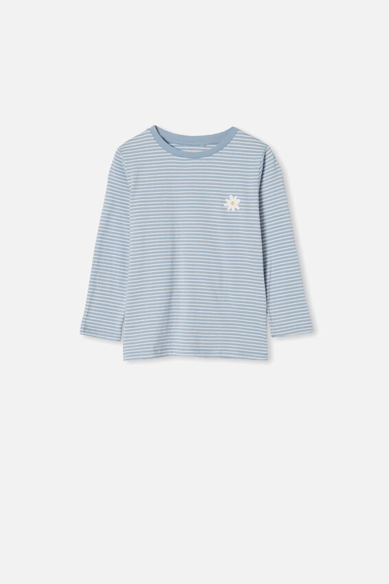 Penelope Long Sleeve Tee, DUSTY BLUE STRIPE/TODAY IS A GOOD DAY