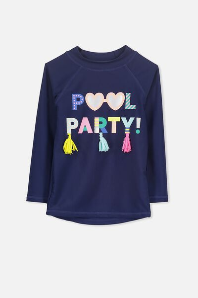 Hamilton Long Sleeve Rash Vest, PEACOAT/POOL PARTY