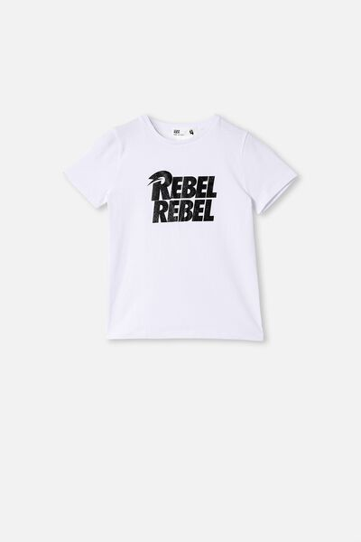 License Short Sleeve Tee, LCN PER WHITE/DAVID BOWIE REBEL SPARKLE