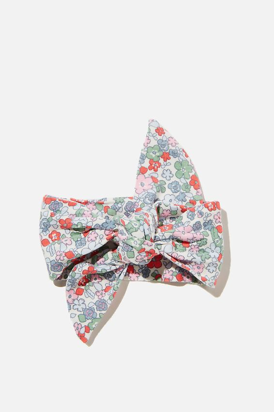 The Tie Headband, VANILLA/CALI PINK GARDEN FLORAL