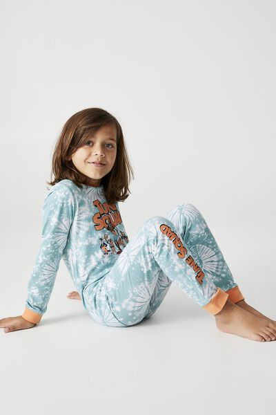 Orlando Long Sleeve Pyjama Set Licensed, LCN WB GROUP SHOT BLUE ICE TIE DYE