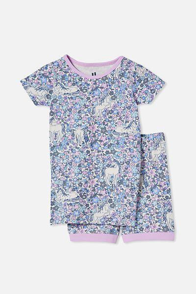 Nikki Short Sleeve Pyjama Set, UNICORN GARDEN/PALE VIOLET
