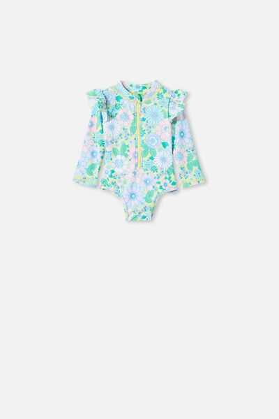 Lucy Long Sleeve Swimsuit, LEMON DROP/RETRO FLORAL