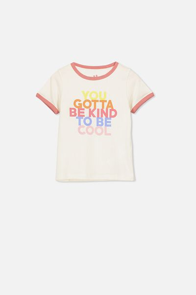 Penelope Short Sleeve Tee, DARK VANILLA/KIND TO BE COOL/RINGER