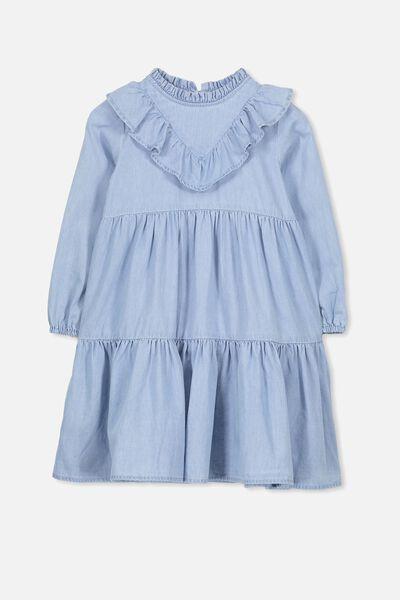 Laura Long Sleeve Dress, LIGHT WASH