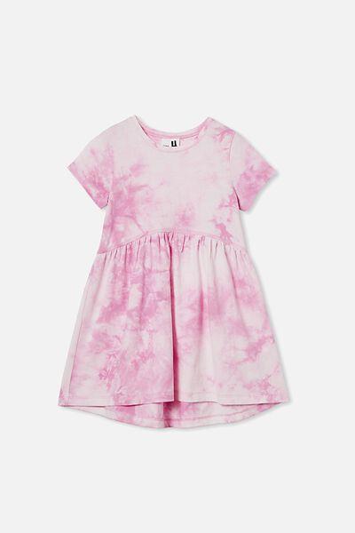 Freya Short Sleeve Dress, PURPLE PARADISE TIE DYE