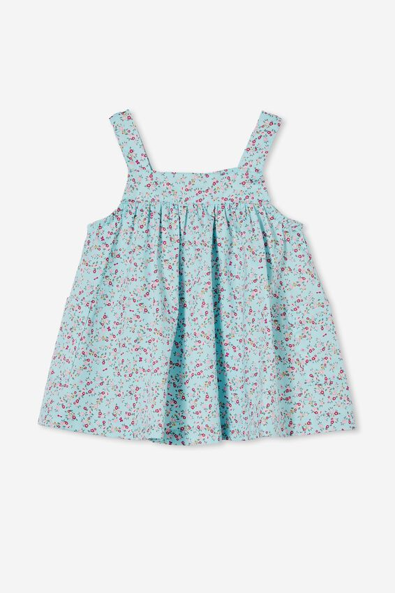 Penny Pinafore Dress, DREAM BLUE/FUSCHIA POP SOMERSET FLORAL