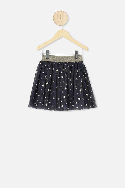 Trixiebelle Tulle Skirt, INK/GOLD STARS