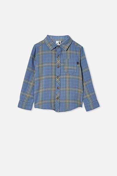 Rugged Long Sleeve Shirt, BLUE PLAID CHECK