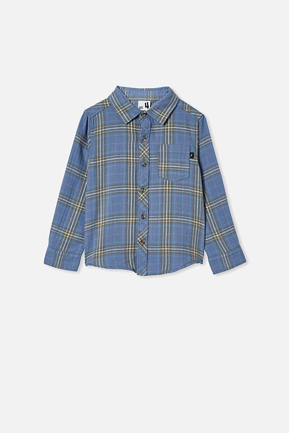 Rugged Long Sleeve Shirt, BLUE PLAID CHECK