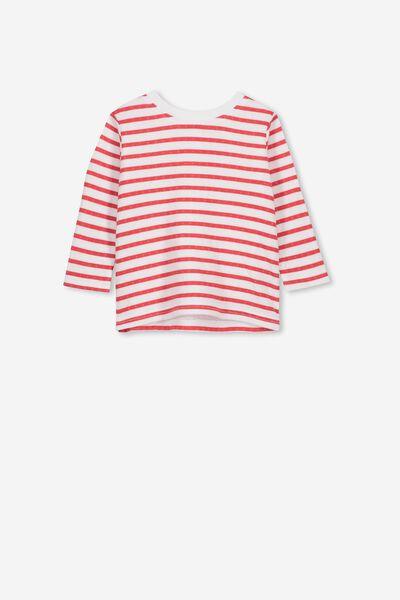 d4c431e35 Deacon Long Sleeve Boxy Tee, WHITE/LOLLIPOP RED STRIPE. Cotton On Kids