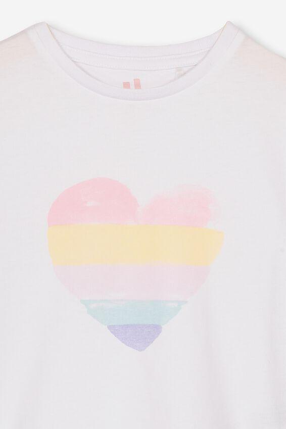 Penelope Short Sleeve Tee, WHITE/RAINBOW HEART/MAX