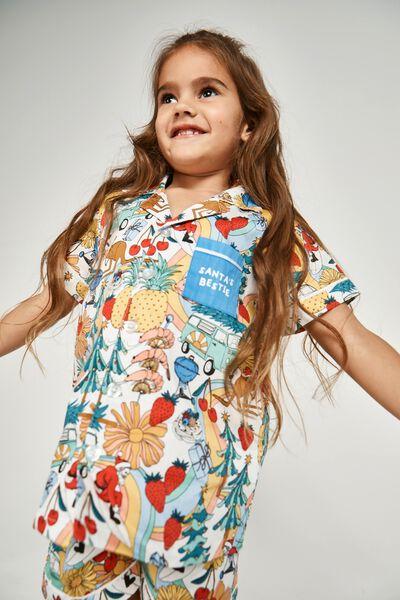 Riley Kids Unisex Short Sleeve Pyjama Set, AUSTRALIANA XMAS/VANILLA
