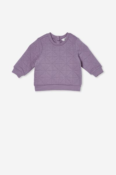 Greer Quilted Sweater, DUSK PURPLE