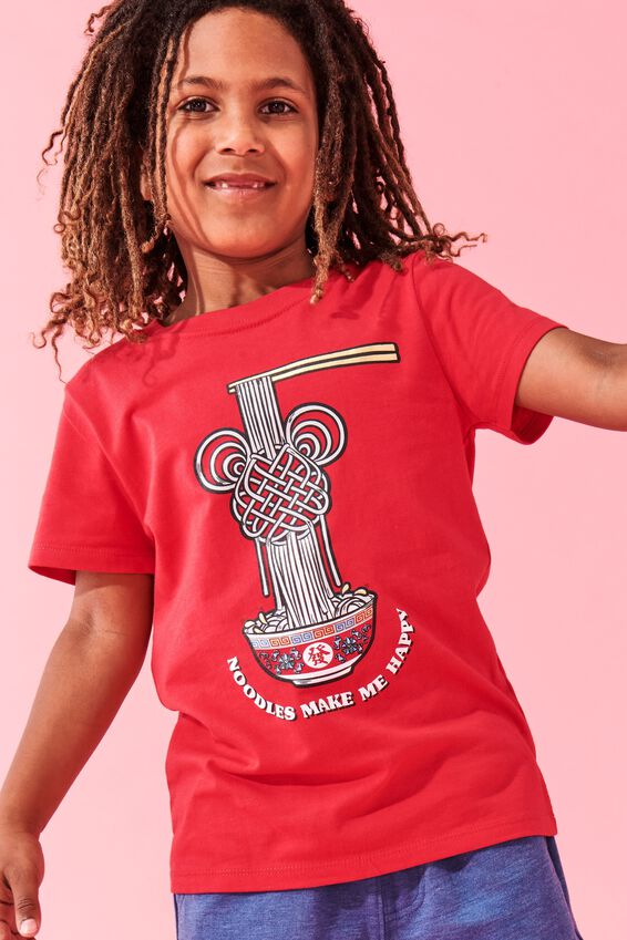 Short Sleeve License Embellished  Tee, LCN DIS LUCKY RED / NOODLE MICKEY