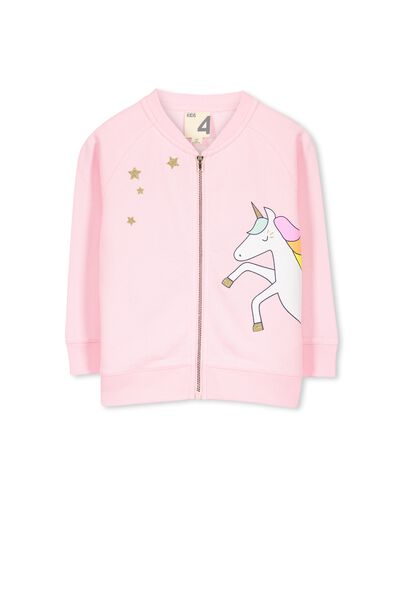 Amber Fleece Bomber, PINK SORBET I LOVE UNICORNS AND GLITTER