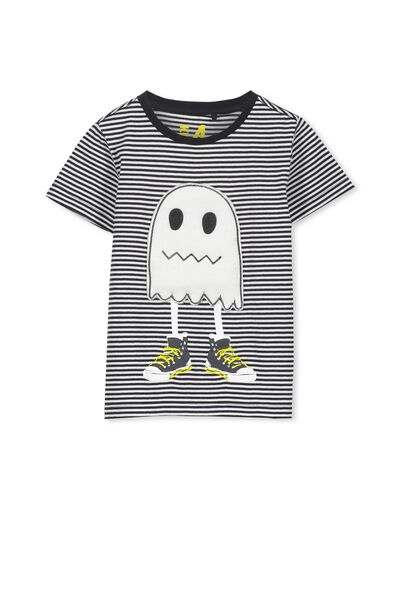 Boys Short Sleeve Halloween Tee, PHANTOM STRIPE/GHOST