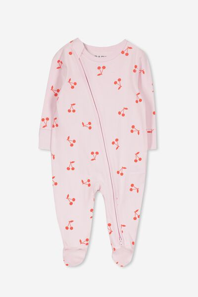 Mini Zip Through Romper, CRADLE PINK CHERRIES