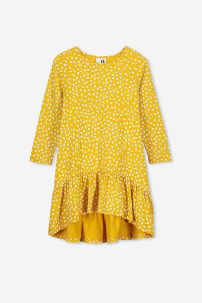Joss Long Sleeve Dress, GOLDEN ROD/SIMPLE DITSY