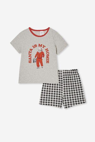 Hudson Short Sleeve Pyjama Set, SANTA IS MY HOMIE/LIGHT GREY MARLE