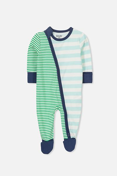 Mini Zip Through Romper, MORRIS BLUE/SIMPLY GREEN MULTI STRIPE