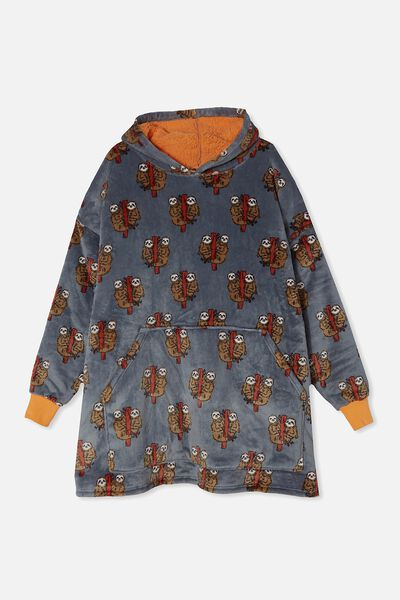 Snugget Adults Oversized Hoodie, SLOTH LOVE SUMMER GREY MARLE