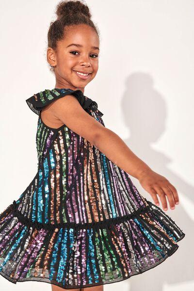 Veronica Dress Up Dress, BLACK/RAINBOW SPARKLE