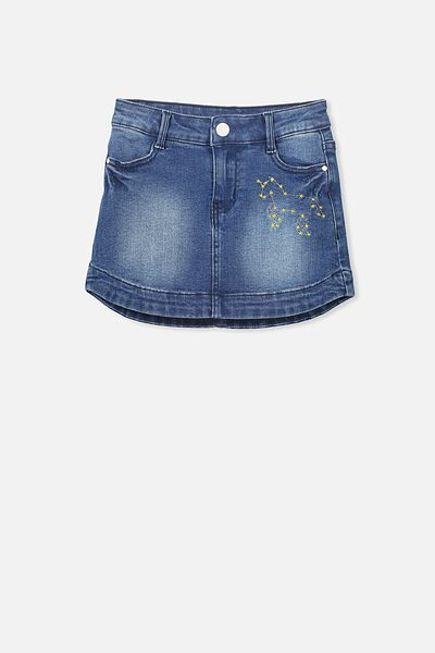 Frankie Denim Skirt, INDIGO WASH/UNICORN