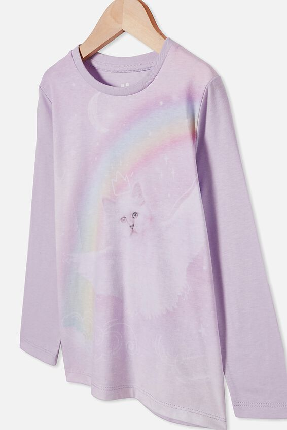 Penelope Long Sleeve Tee, VINTAGE LILAC/FLYING RAINBOW KITTY