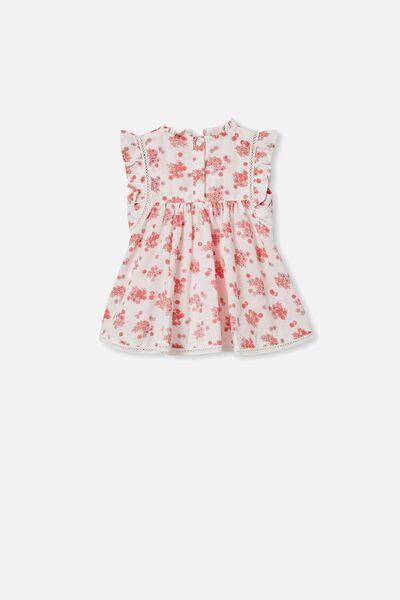 Tess Flutter Sleeve Dress, VANILLA/SMOKED SALMON MINI RETRO FLORAL