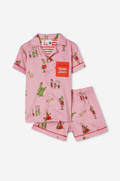 Riley Kids Unisex Short Sleeve Pyjama Set Licensed, LCN DRS GRINCH FACE MARSHMALLOW