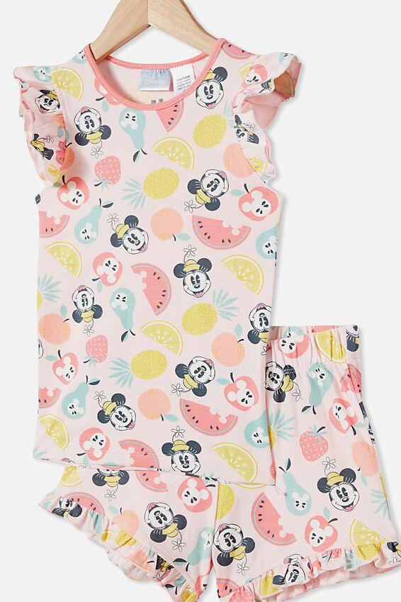 Stacey Flutter Short Sleeve Pyjama Set Licensed, LCN DIS MINNIE FRUIT / CRYSTAL PINK