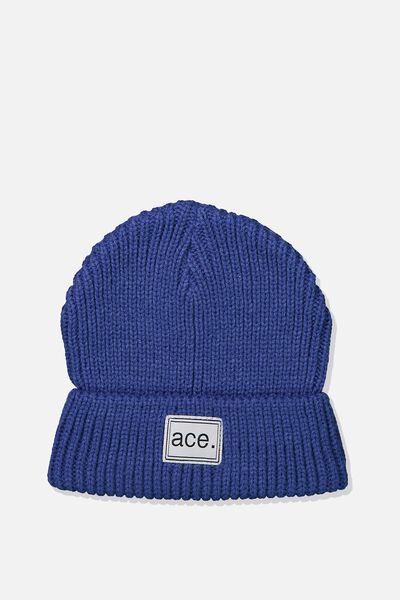Winter Knit Beanie, BLUE RIB